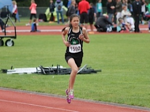 RCTFC athlete Amanda Scott, shown here competing at an earlier trackmeet, won silver for her 800m performance at the Elementaries' trackmeet.