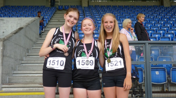 Grace Vanee, Taylor Morrison and Katherine Oostenbrink win trio of medals in the 14/15 year old girls 1500m racewalk event.