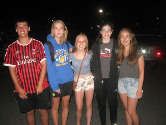 Zone 4 Summer Games Track Athletes arrived at drop-off site at 3am prior to travelling to Nanaimo to compete at the Summer Games July 17-20. (l-r) Tomas Ward, Devin Strome, Grace Fetherstonhaugh, Jessica Klein and Lauren Vanee.