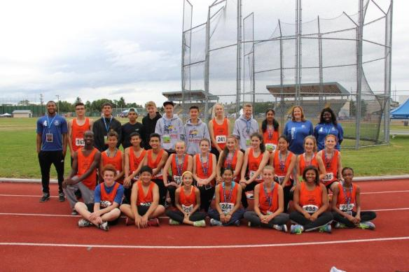BC Summer Games Zone 4 Team, including RCTFC Hurdles Coach/Games Chaperone Francis Hanson-Monnie and RCTFC Athletes Devin Strome, Grace Fetherstonhaugh, Jessica Klein, Lauren Vanee and Tomas Ward.