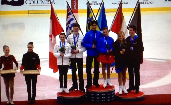 RCTFC athlete Ashlynne Stairs (female far right) wins Bronze medal at Nats in Ice Dance.