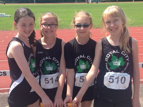 RCTFC's 11 year old relay team wins gold (l-r: Charlotte Taylor, Kate Bowles, Sydney Christiansen and Kaitlyn Biedka)