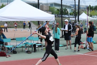 Brianna competes in javelin.