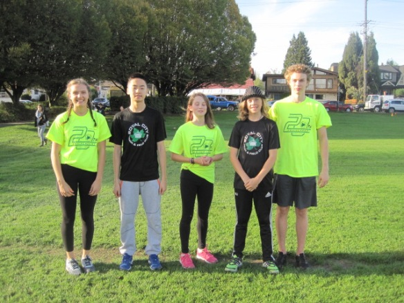 Emily Chilton, Gavin Fan, Emma Dolman, Ryan Jensen and Finnley Cookson volunteered at the recent New Westminster School District XC Elementary Championship