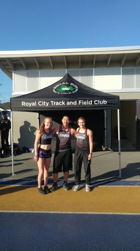 Grace Fetherstonhaugh (left) and Jenevieve Patry-Smith (right) with Jarrett Chong (centre)